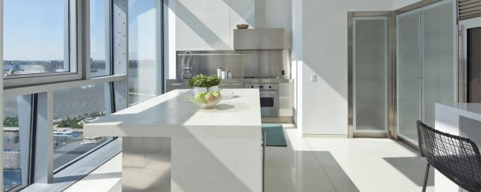 CaesarStone Quartz Countertops For Kitchen Island Plus Oven And Cabinets On White Ceramics Floor For Kitchen Decor Ideas
