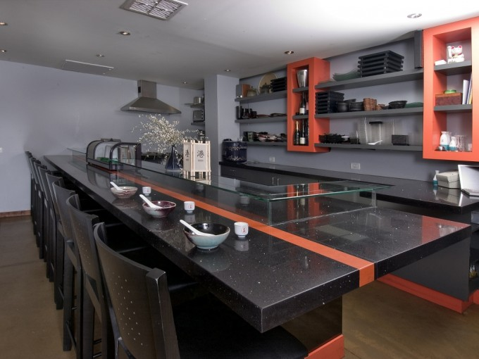 Caesarstone Tequila Sunrise And Ebony Reflections Countertops Plus Chairs For Kitchen Island Ideas