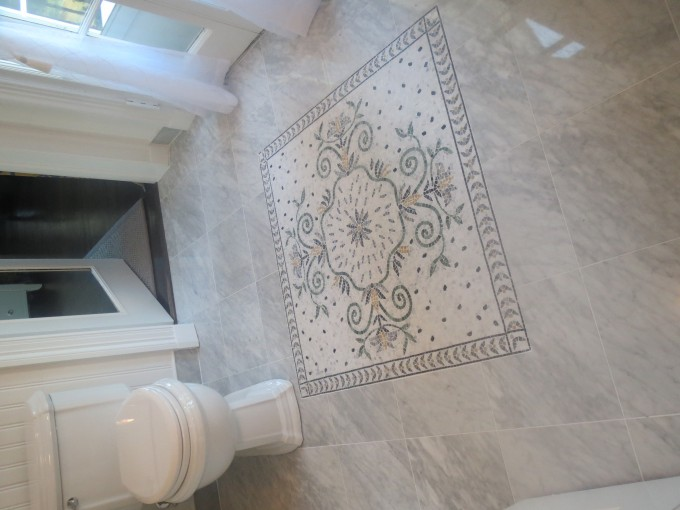 Charming Bathroom Decoration With White Cancos Tile With Floral Image Matched With White Wall Plus White Closet And White Curtain