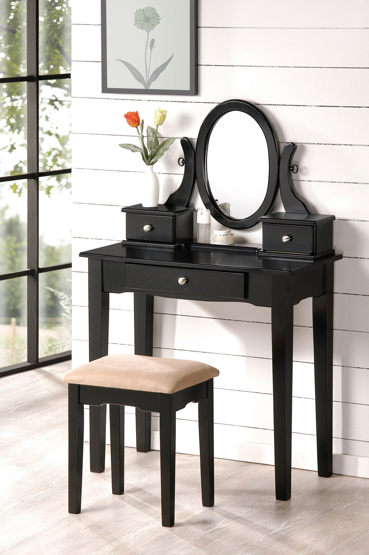 Charming Black Hayworth Vanity With Mirror Plus Matching Stool For Inspiring Furniture Ideas