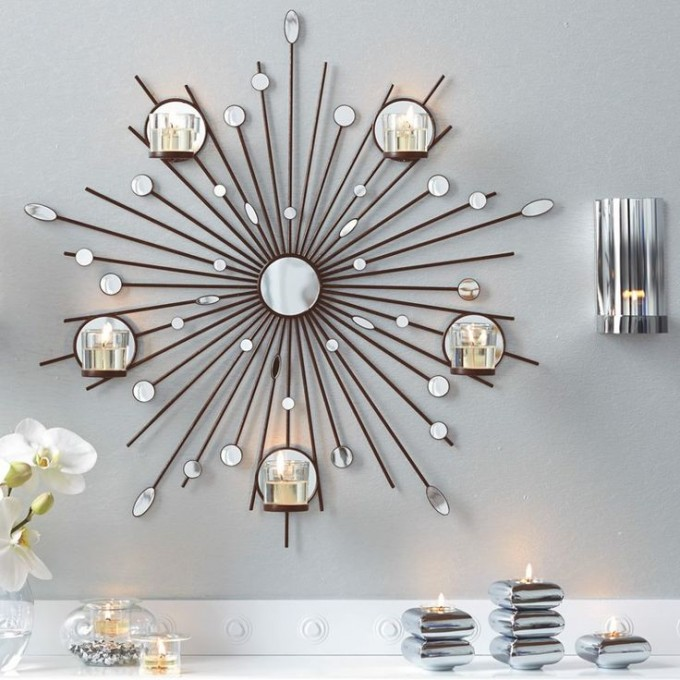 Charming Brown Starburst Wall Decor With Mirror For Wall Accessories Ideas