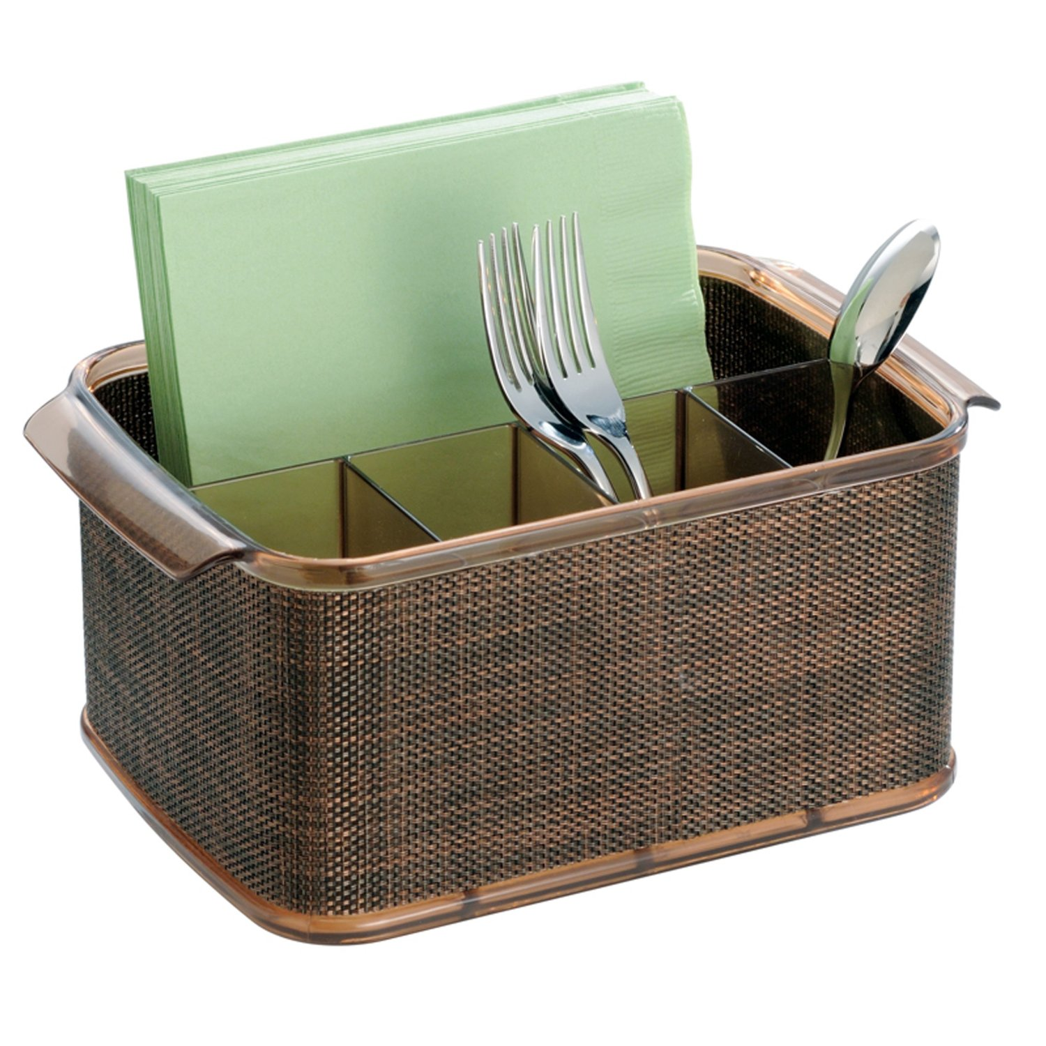 charming brown utensil caddy for spoons and tissue storage ideas