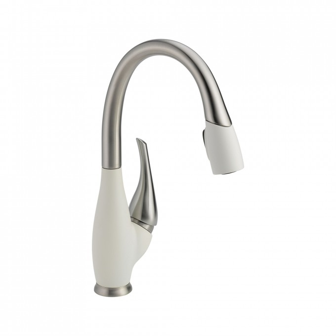Charming Faucet Direct With Curved Neck And Single Handle In White And Silver Theme