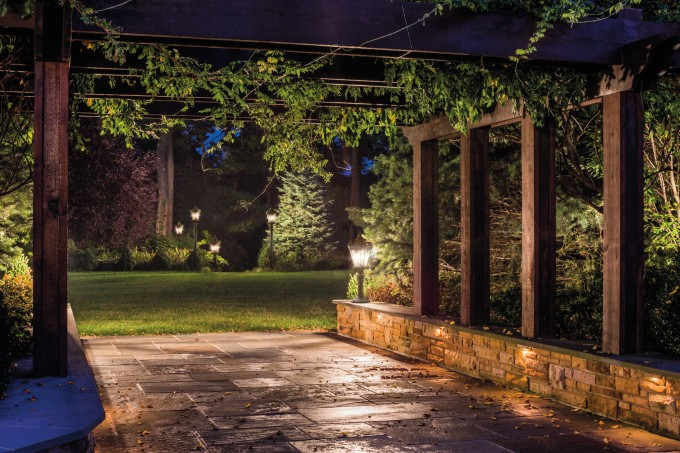 Charming Garden With Lighting By Hinkley Lighting Plus Pergola Plans Ideas