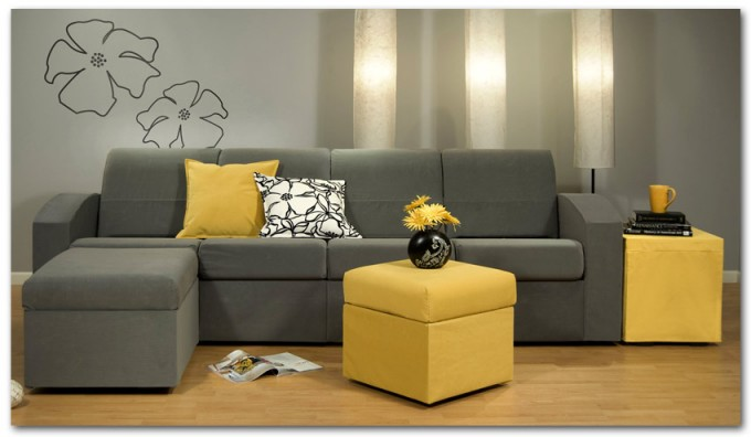 Charming Grey Sectional Couches With Yellow Table On Wooden Floor Matched With Grey Wall For Inspiring Living Room Decor Ideas