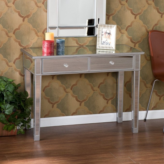 Charming Hayworth Vanity On Wooden Floor Plus Mirror And Single Chairs For Makeup Room Ideas
