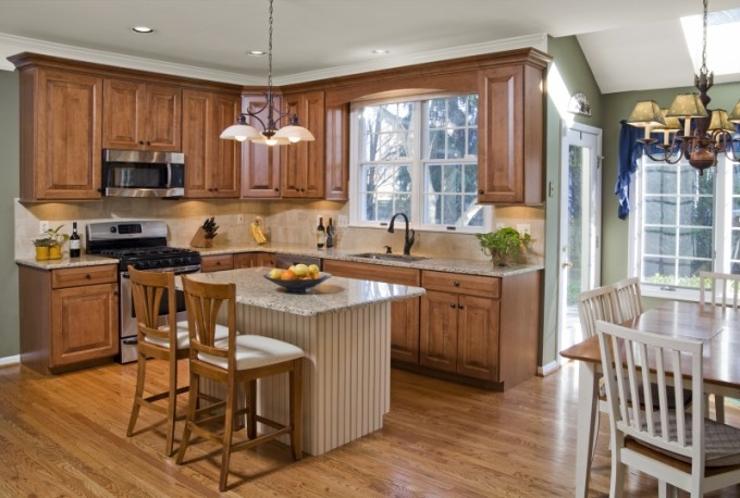 Charming Kitchen Cabinet Refacing In Brown Plus Oven And Sink Plus Dining Table With Chandelier