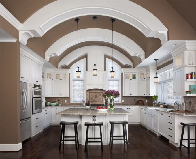 Charming Kitchen Desigh With White Lafata Cabinets Plus Oven And Frige Plus Wooden Floor And Chandelier Ideas