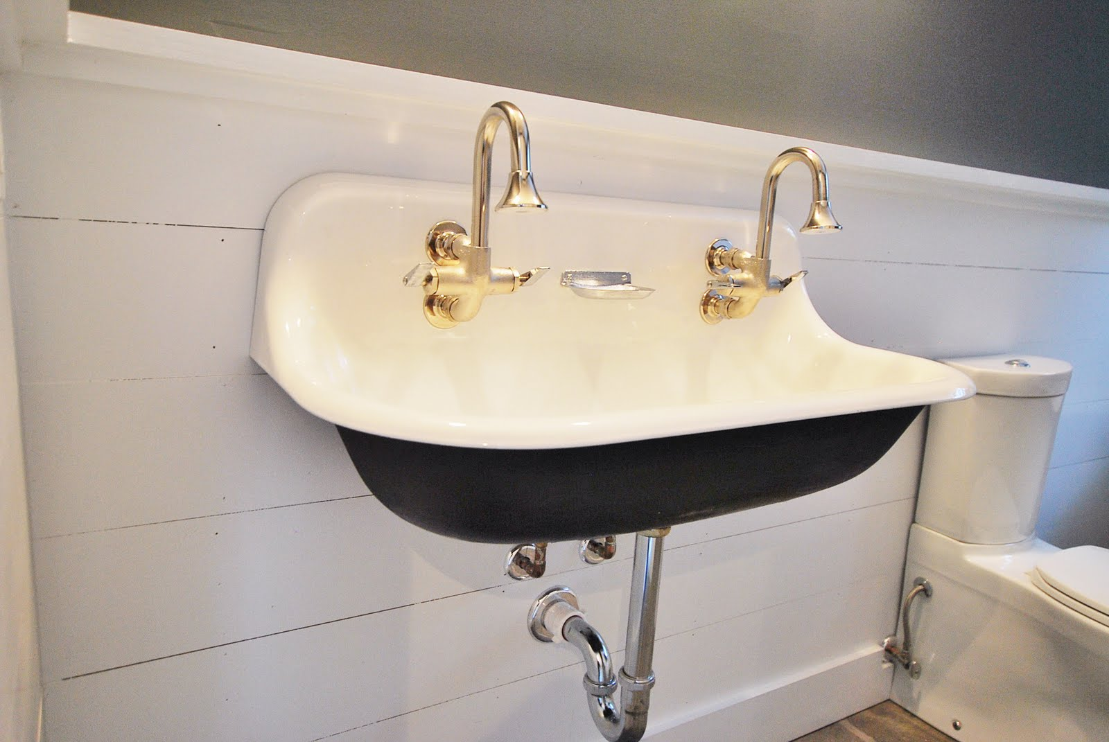 Charming kohler sinks with double golden faucet for bathroom ideas