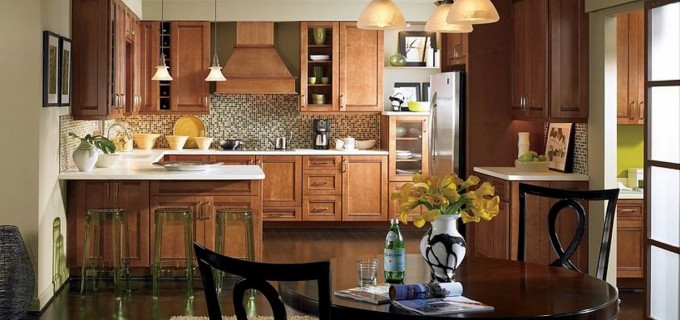 Charming Mocca Thomasville Cabinets With White Countertop And Mosaic Tile Back Splash Plus Oven And Fridge For Kitchen Furniture Ideas