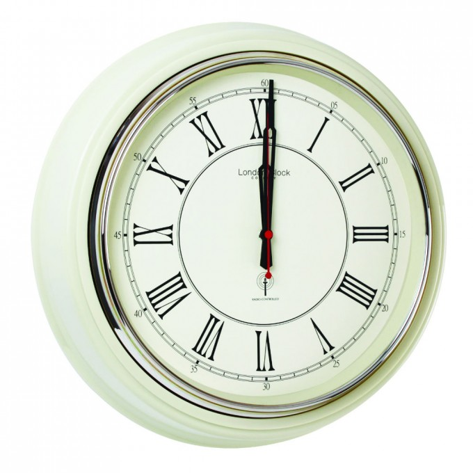 Charming Oversized Wall Clock With Red Second Hand And Roman Numerals