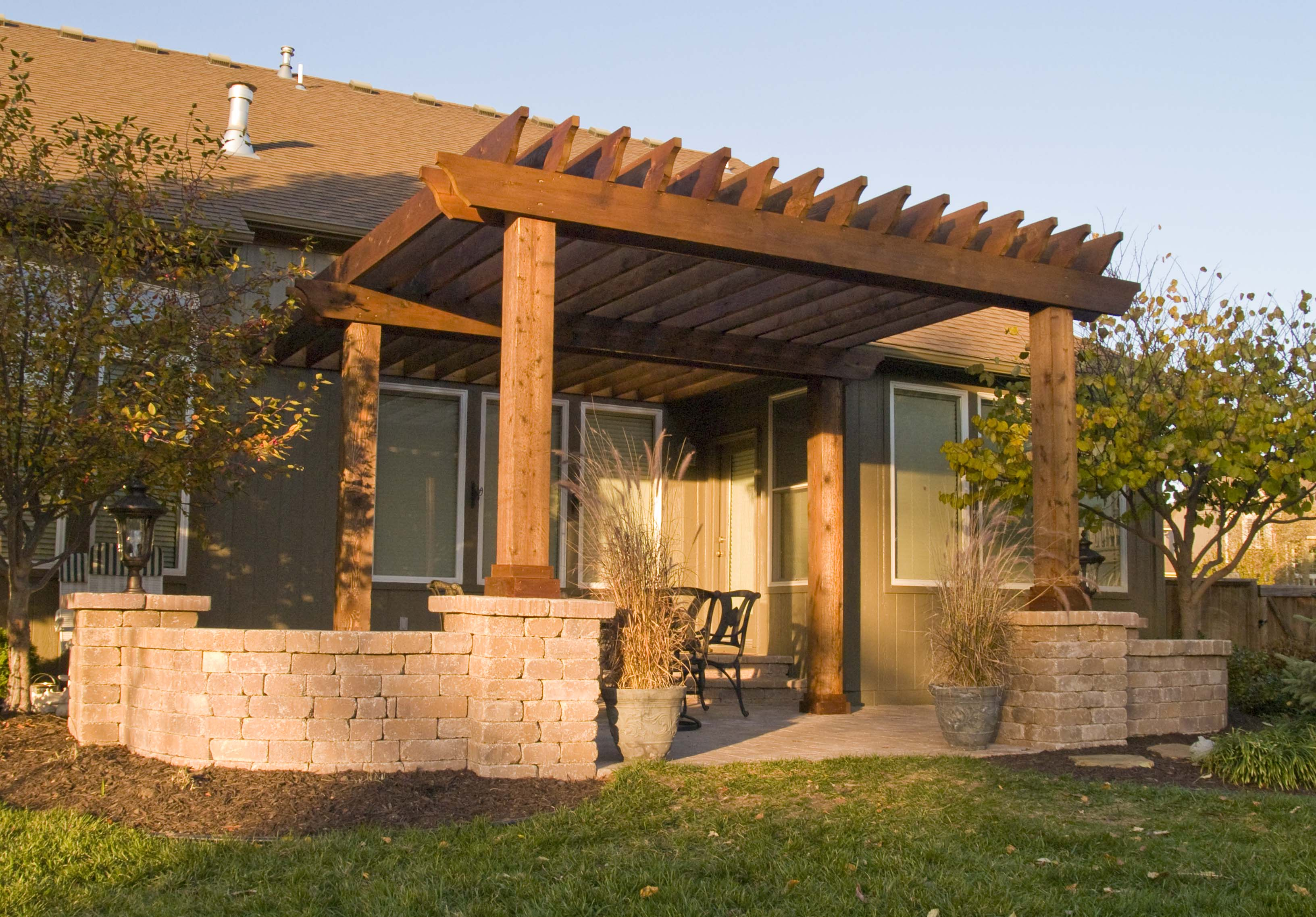 Charming Pergola plans on teracce with chairs ideas with window on olive wall