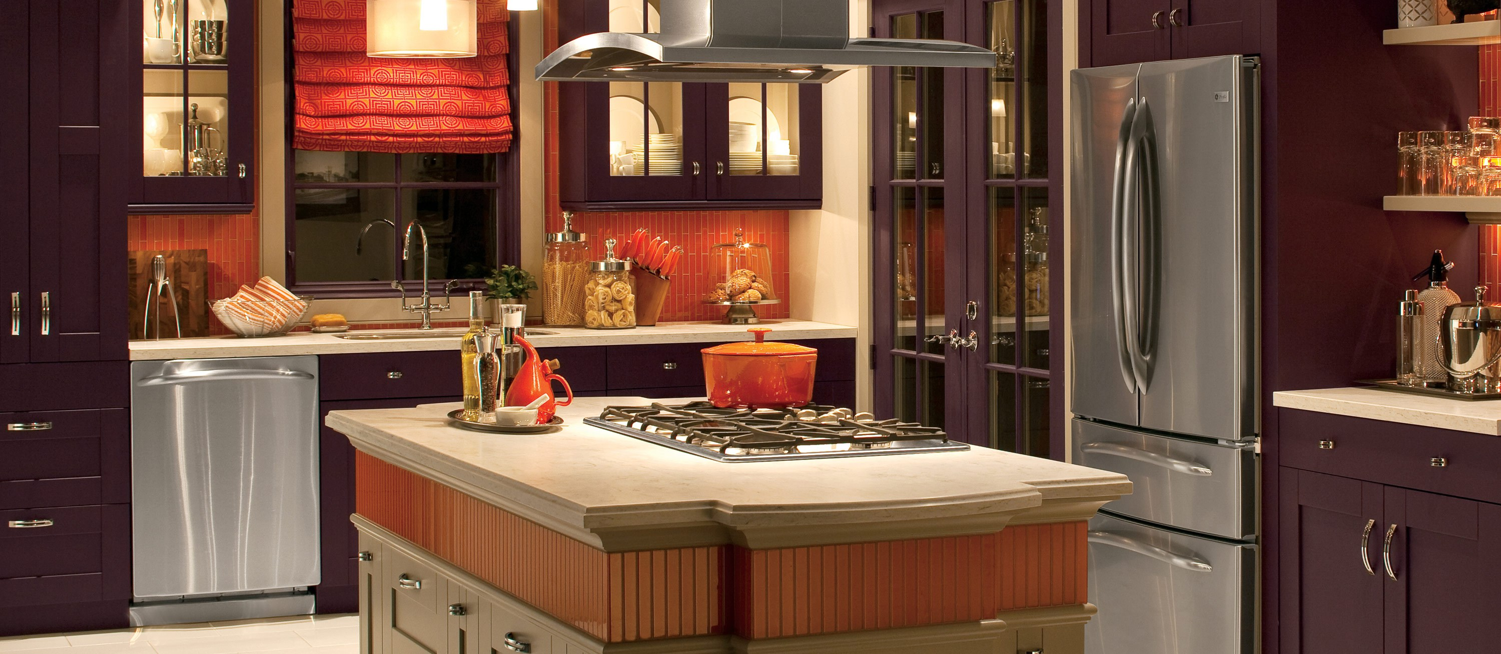 charming purple Thomasville Cabinets with white countertop plus sink near the window for kitchen decoration ideas