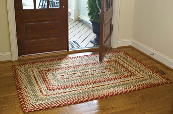 Charming Rectangle Cotton Braided Rugs In Big Sized On Wooden Floor For Inspiring Floor Decor Ideas