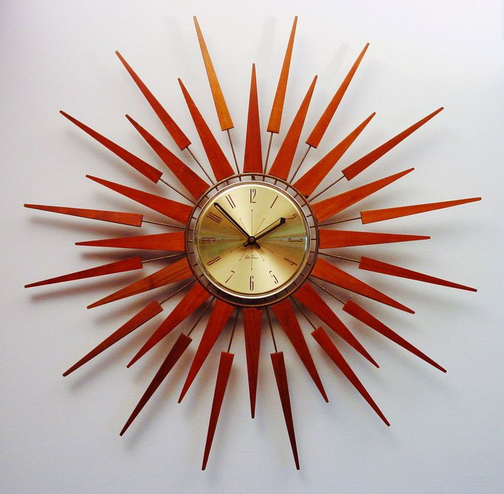 charming red Starburst Wall Decor with clock for wall accessories ideas