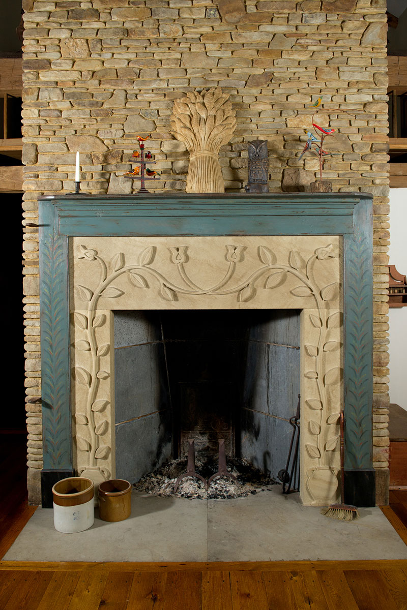 charming Rumford Fireplace with cream frame and floral ornament plus blue mantel kit for heat warming ideas