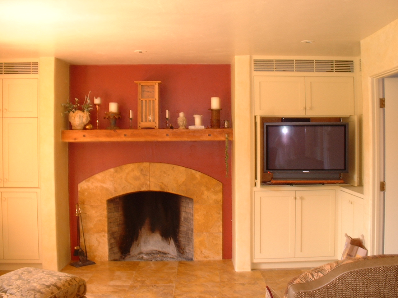 charming Rumford Fireplace with cream mantel kit on orange wall matched with cream ceramic wall plus sofa set for family room ideas