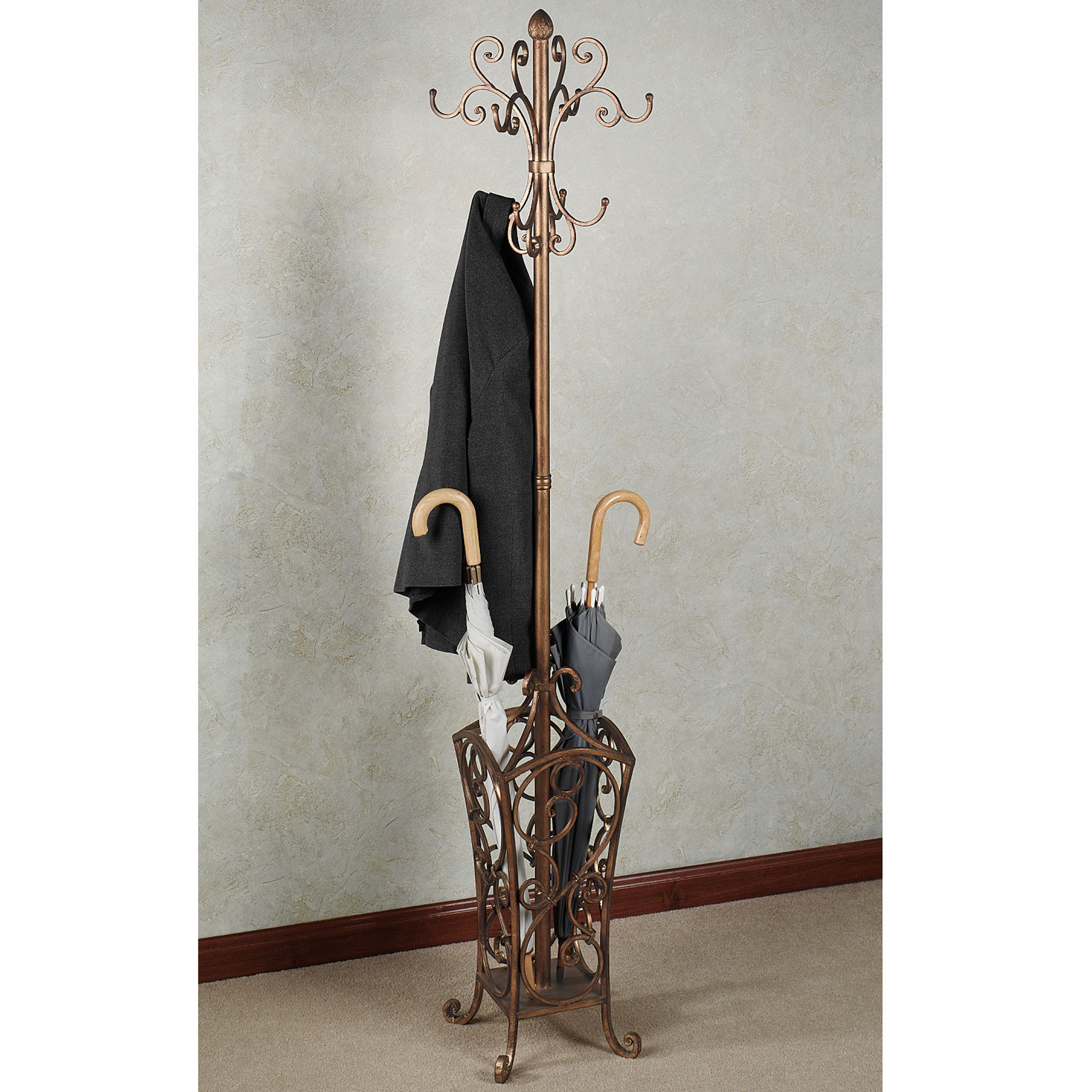 charming standing coat rack with floral design of hooks plus umberella stand