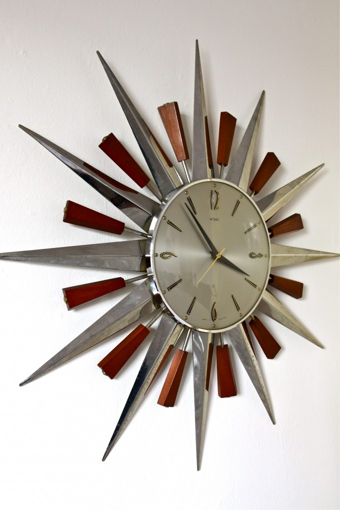 Charming Starburst Wall Decor In Maroon And Silver With Clock For Wall Accessories Ideas