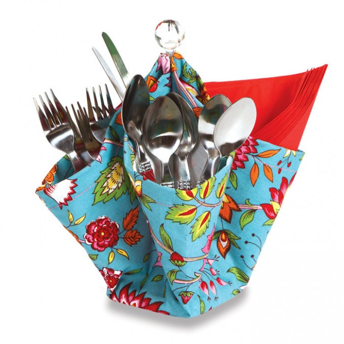 Charming Utensil Caddy With Flowers Motif For Cutlery Case Ideas