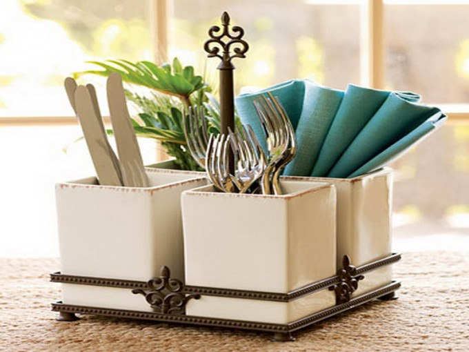 Charming White Ceramics Utensil Caddy For Cutlery Case Ideas