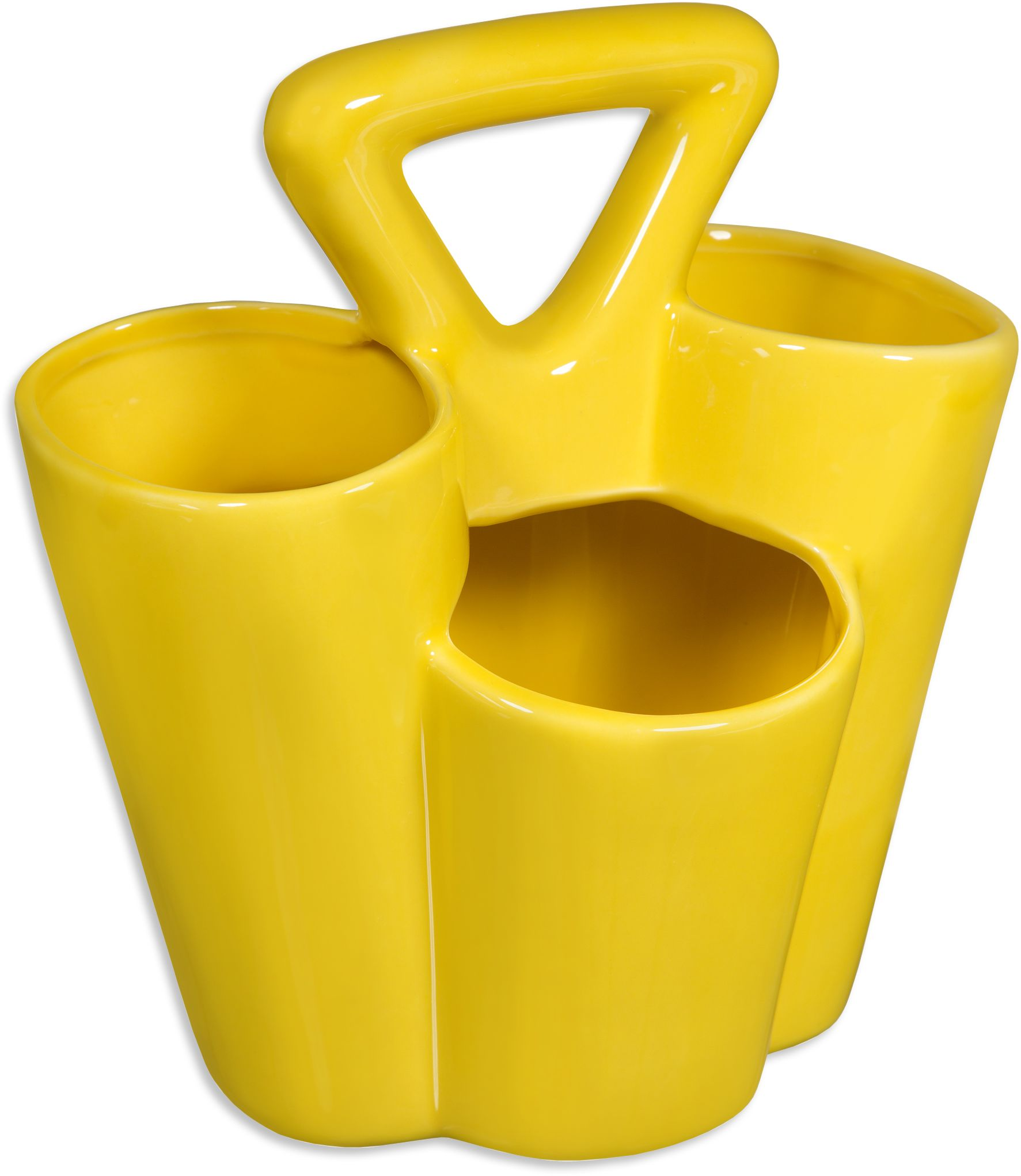 Charming Yellow Ceramics Utensil Caddy For Kitchen Accessories Ideas