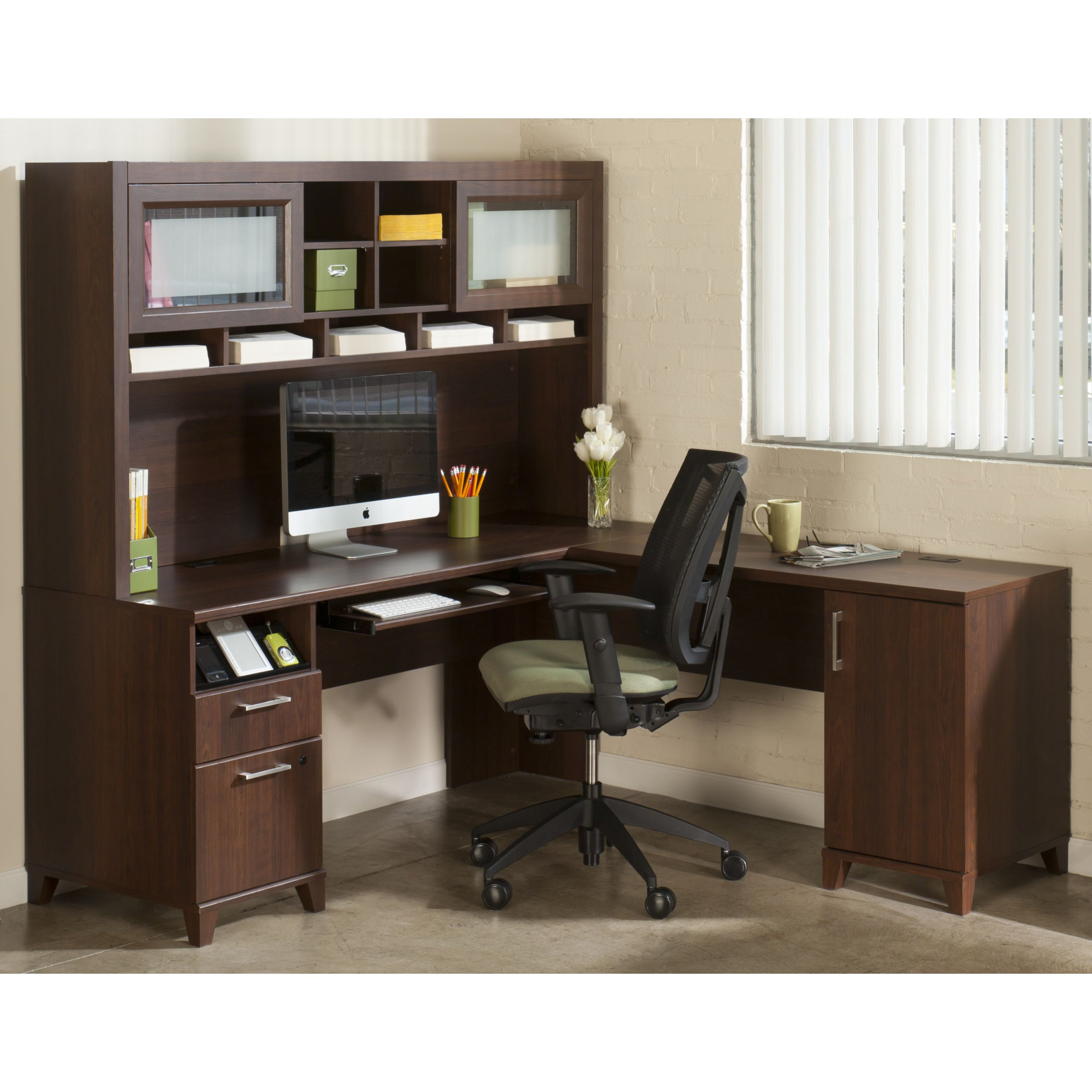 Cheap L Shaped Desk with hutch and storage ideas plus computer set and black armchair