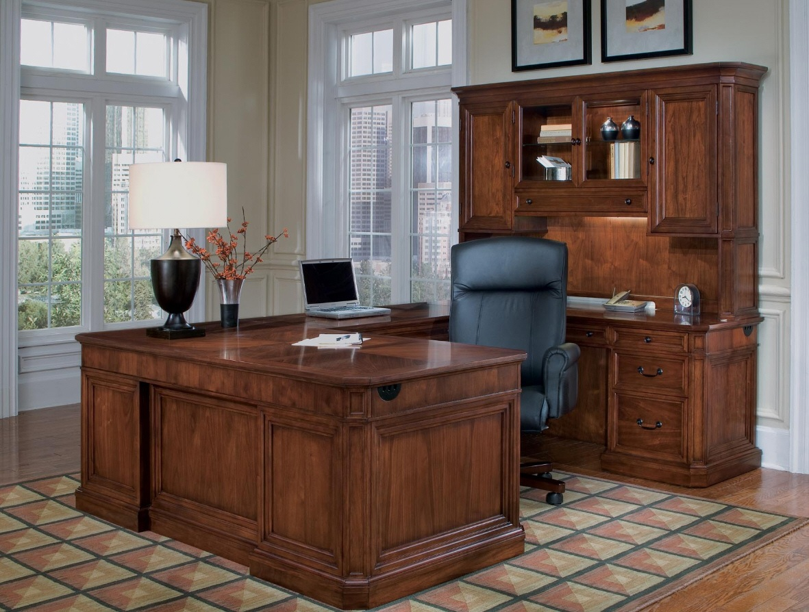classic design of l shaped desk with hutch and drawers plus computer or lamtop stand for