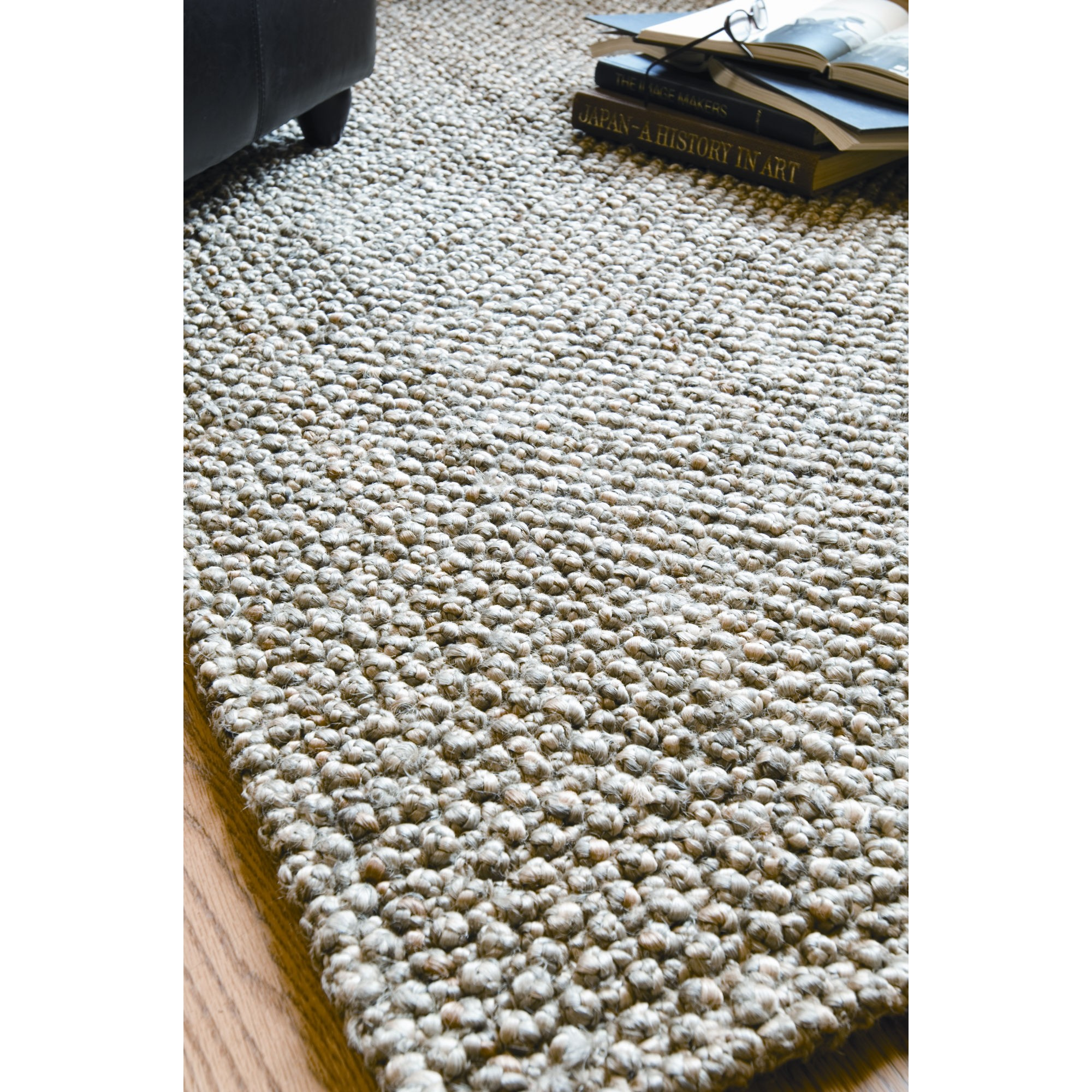 Classic rectangle Braided Rugs in wheat theme on wooden floor for floor decor ideas