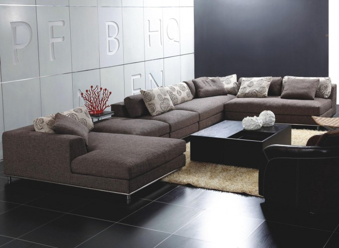 Classy Brown Sectional Couches Plus Cushions On Black Ceramic Floor Plus Carpet For Elegant Living Room Decor Ideas