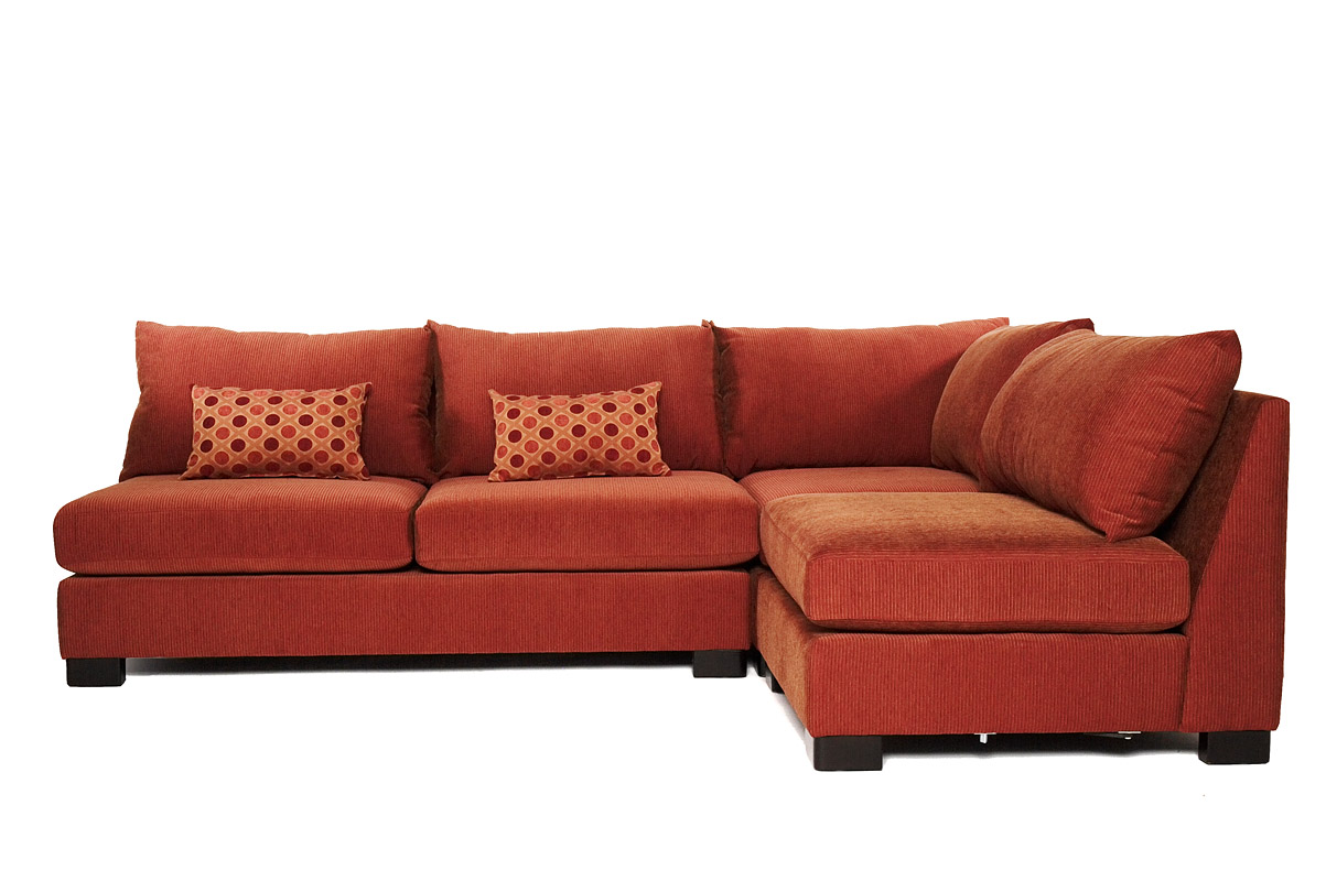 Classy Sectional couches in orange plus cushions for inspiring furniture ideas