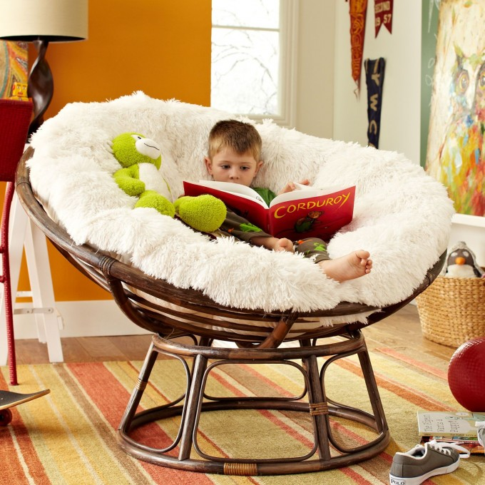 Comfortable Papasan Chair With White Hairy Cushions On Stripped Carpet Ideas