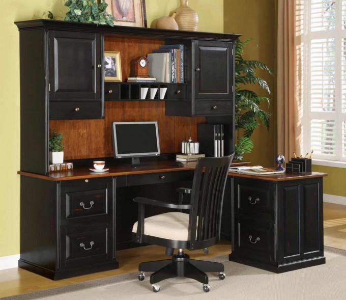 Cool Furniture Wooden L Shaped Desk With Hutch Design In Black With Drawer And Computer Stand Plus Black Chair