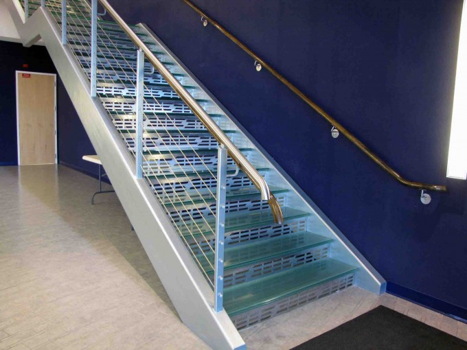 Cool Golden Handrails For Stairs With Simple Designs Ideas With Purple Wall