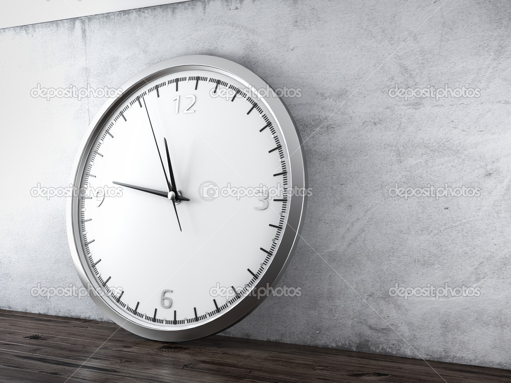 cool oversized wall clock with silver frame and three black hand