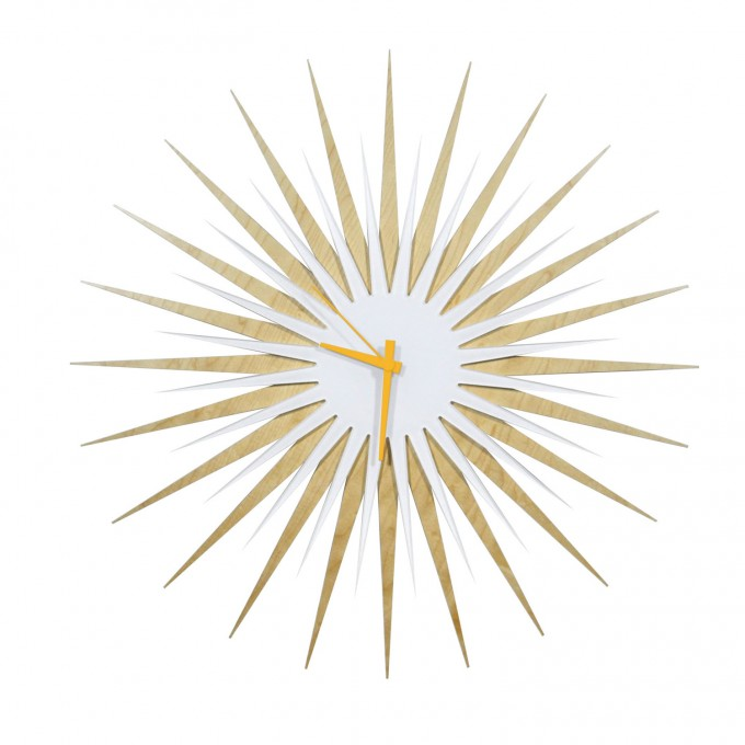 Cream And White Starburst Wall Decor With Clock For Wall Accessories Ideas