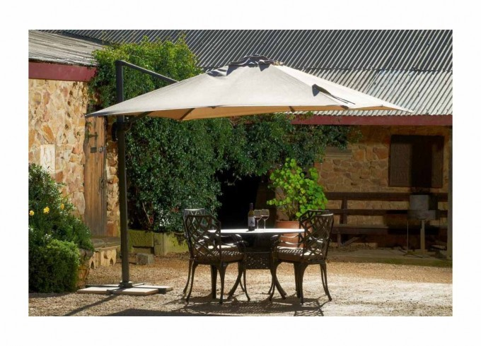 Cream Cantilever Umbrella With Dining Table For Inspiring Outdoor Dining Space Ideas
