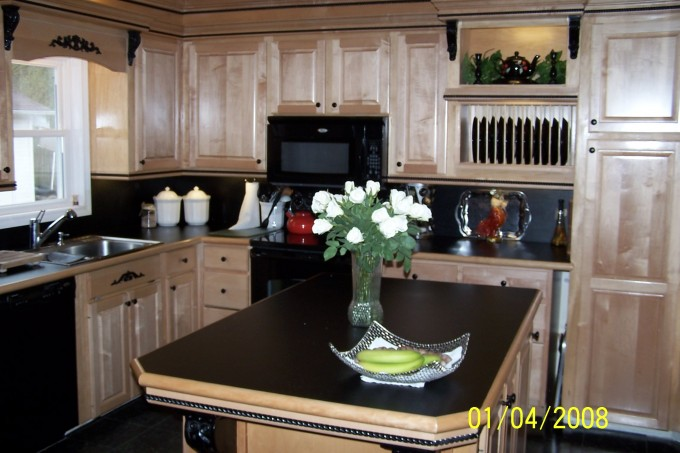 Cream Kitchen Cabinet Refacing With Black Oven And Sink For Kitchen Ideas