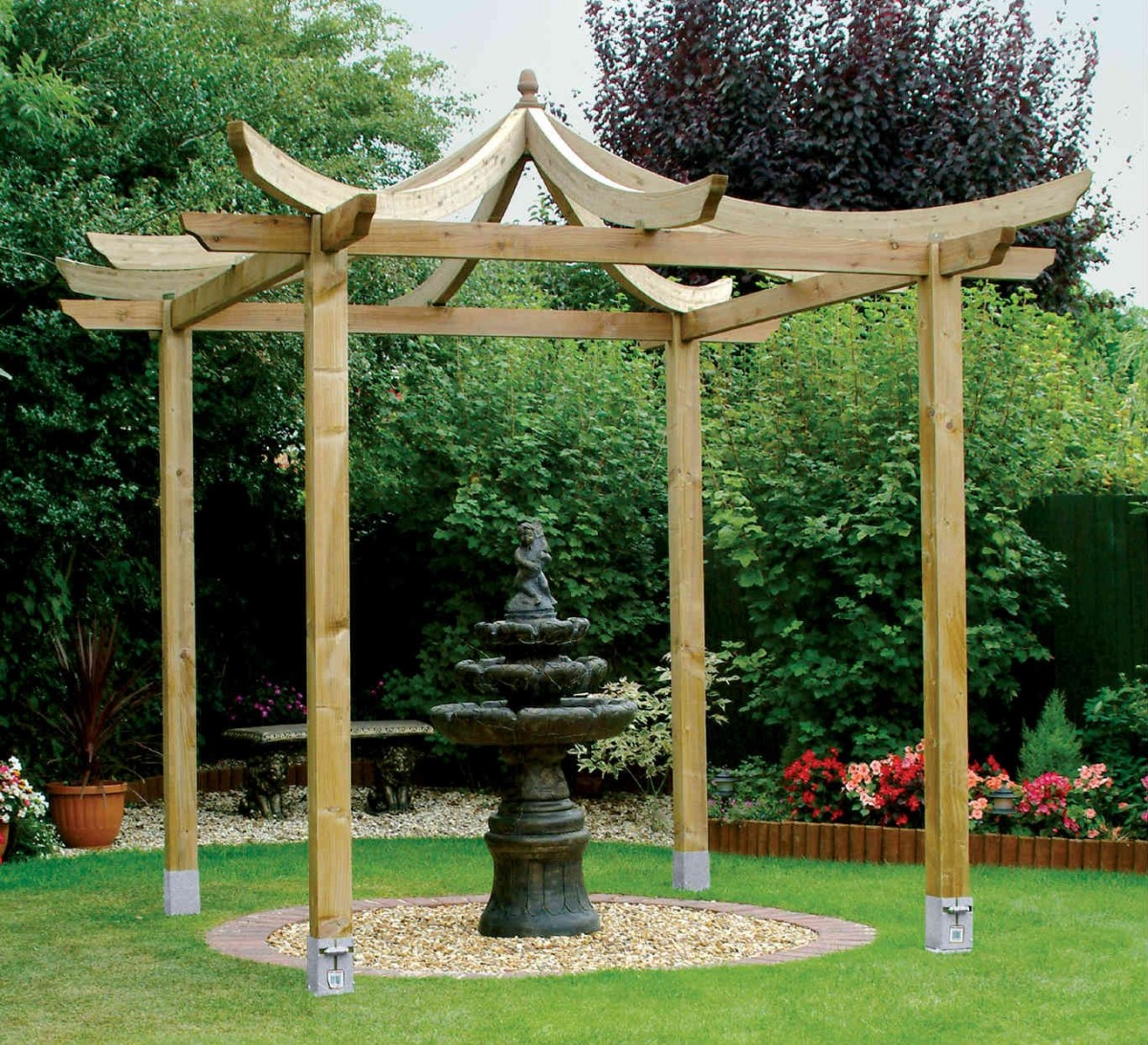 cream pergola plans with mini water fountain on center for yard decor ideas