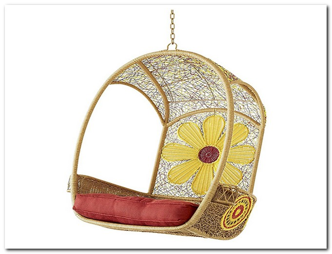 cream rattan swingasan chair with flower picture on back ideas