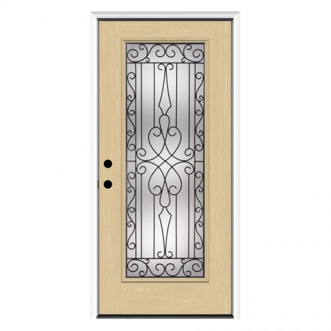Cream Reliabilt Doors With Black Handle And Curver Temoered Glass Ornament Ideas