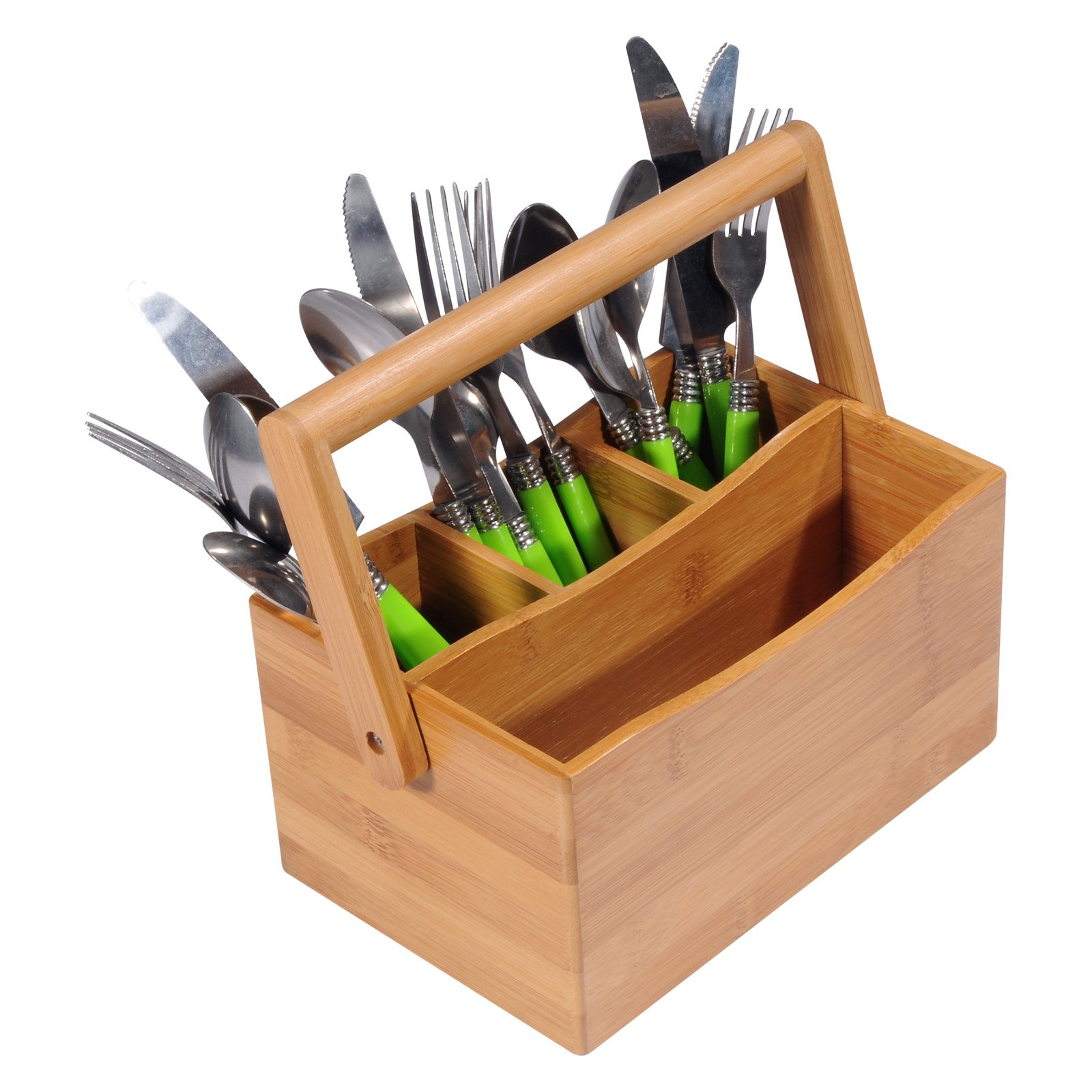 Creative Home Bamboo Utensil Caddy With Handle