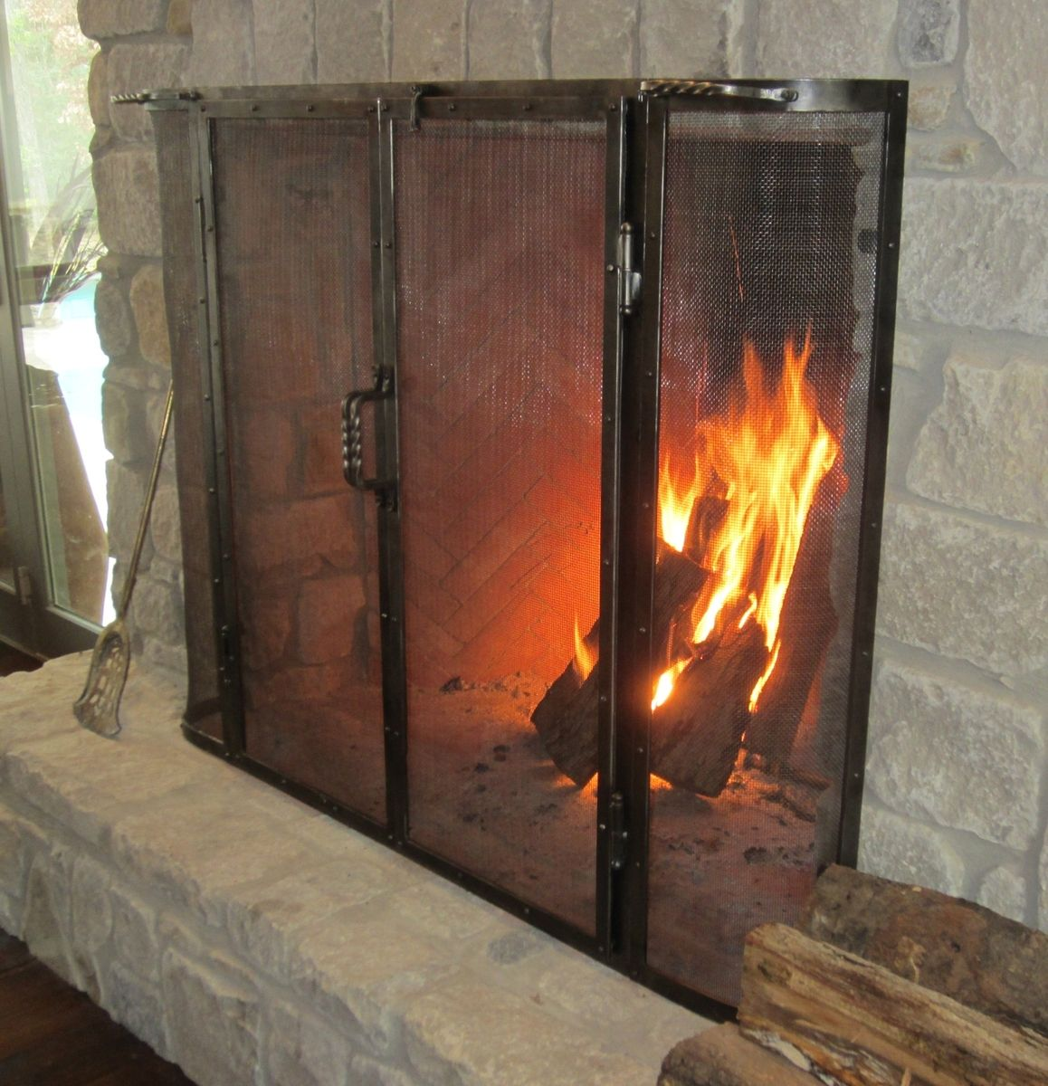 Custom Firescreen For Rumford Fireplace with stone mantel kit matched with wooden floor ideas