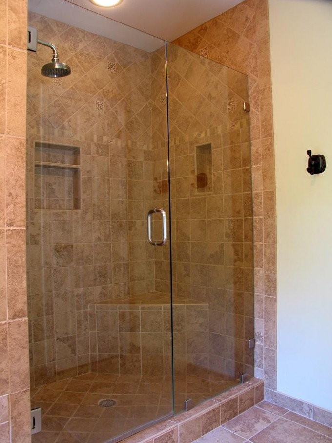 Custom Frameless Shower Doors With Silver Handle Matched With Peru Ceramics Wall And Floor With White Ceiling Plus Lamp For Bathroom Ideas
