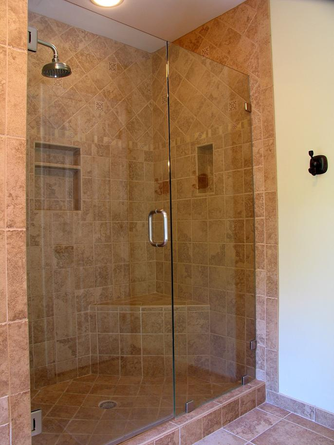 Custom Frameless Shower Doors With Silver Handle Matched With Peru Ceramics  Wall And Floor With White Part 98