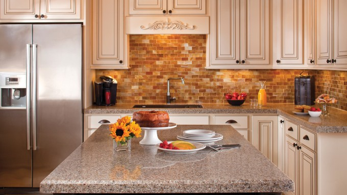 Custom Thomasville Cabinets Mith Mosaic Tile Back Splash Plus Sink And Faucet For Kitchen Furniture Ideas