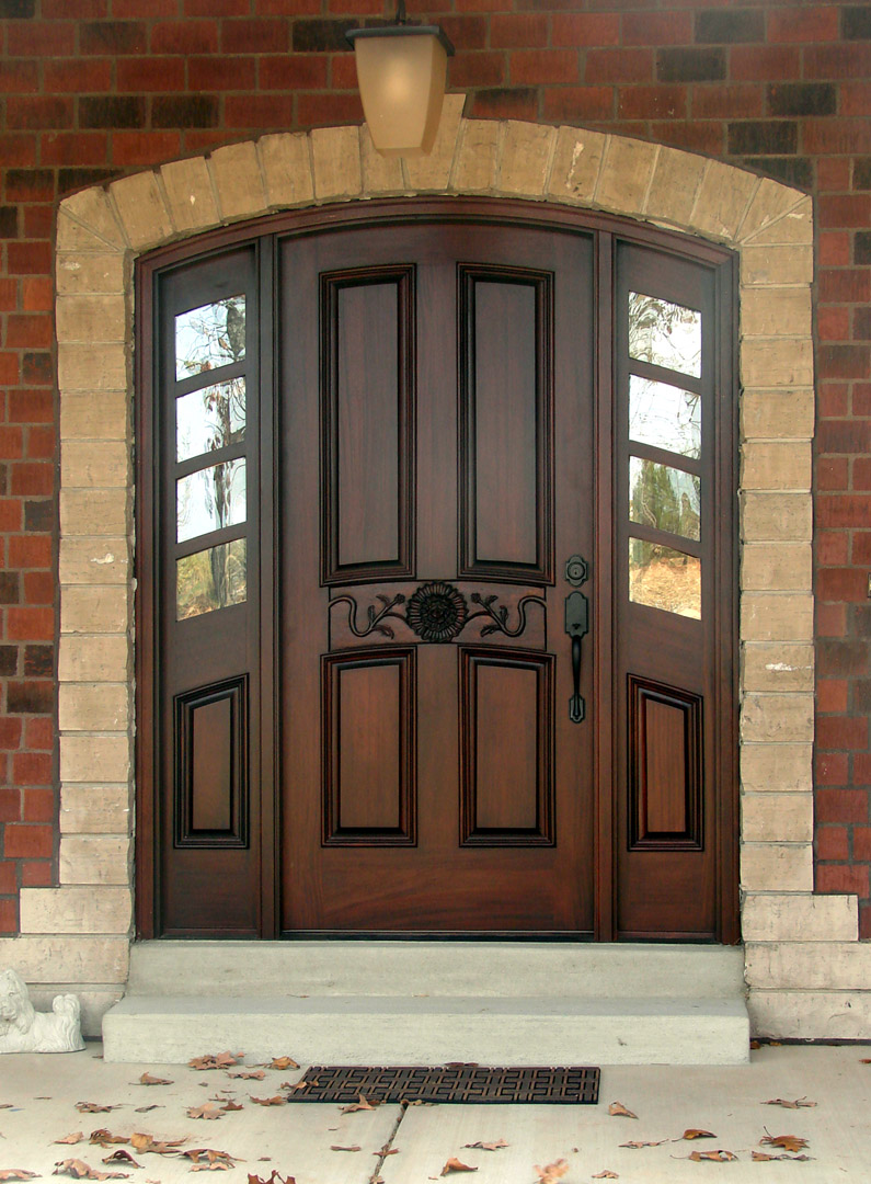 dakbrown therma tru entry doors with black handle matched with brick wall ideas
