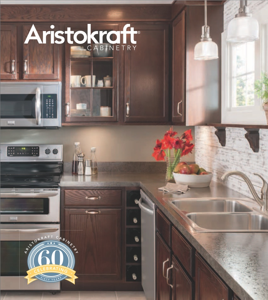 dark brown aristokraft cabinets matched with grey countertop plus silver sink and oven for kitchen ideas