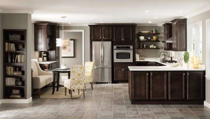 Dark Brown Aristokraft Cabinets With White Countertop Plus Oven And Frige Plus Dining Table For Kitchen Decor Ideas