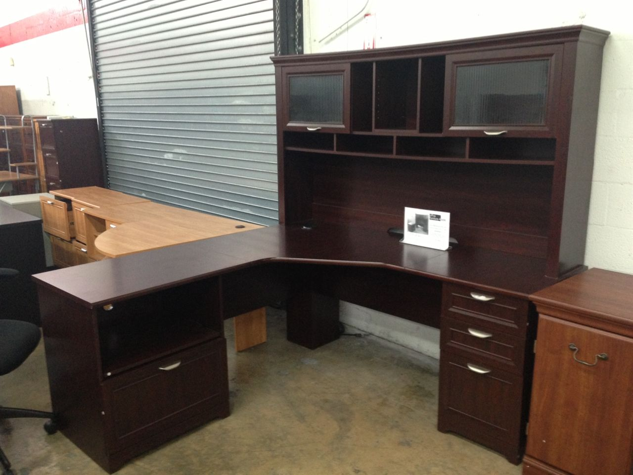 office furniture ideas dark brown l shaped desk with hutch and storage with silver handle plus computer or laptop